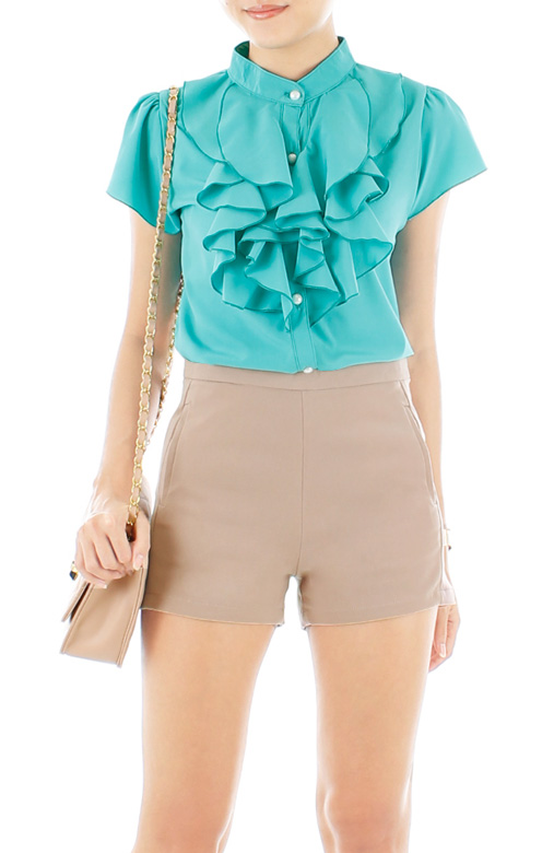 Tailored Shorts with Pockets - Almond