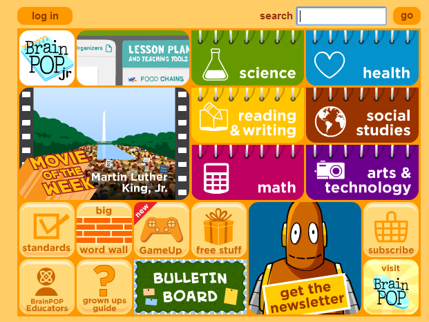 Ways to use brain pop jr at home school stories of our boys screen shot of the home page urtaz Gallery
