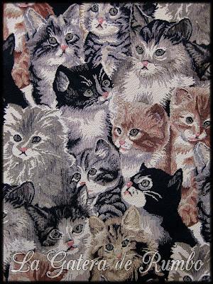 Reunión felina. Detalle de un bolso de nuestra humana