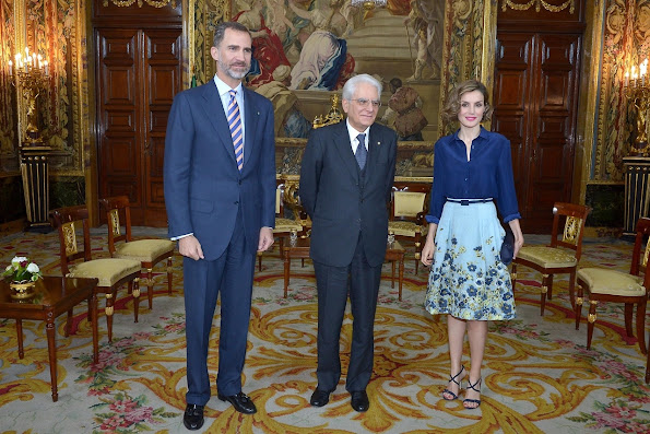 King Felipe of Spain and Queen Letizia of Spain receives President of the Italian Republic Sergio Mattarella at the Royal Palace