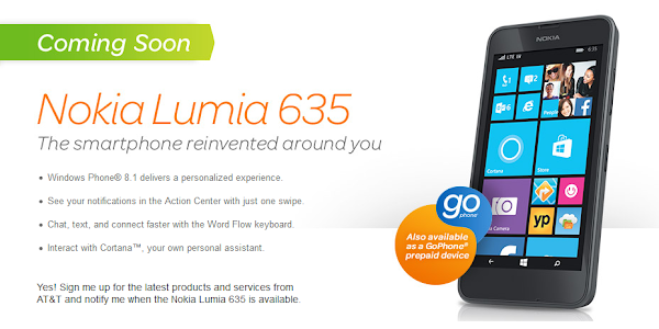 Nokia Lumia 635 with Windows Phone 8.1 coming to AT&T on July 25