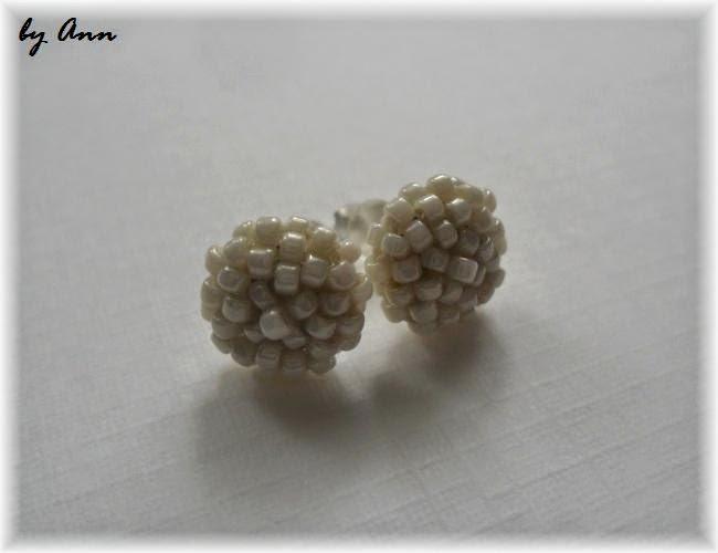 biżuteria ślubna kolczyki z koralików kremowe śmietankowe ecri