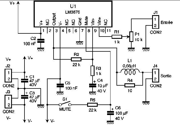 amplificateur de puissance 56w audio hautes performances schema lectronique comment faire. Black Bedroom Furniture Sets. Home Design Ideas
