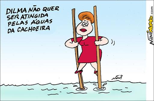 Dilma nas águas da cachoeira