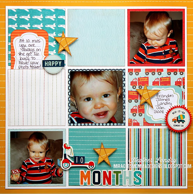 Little Boy_10 Months_Scrapbook Page_Grid
