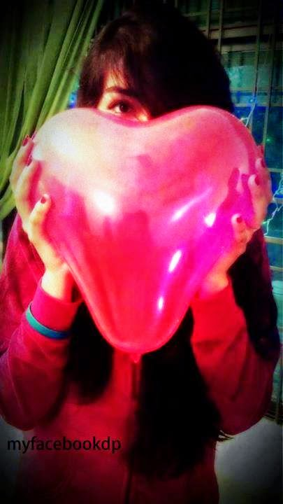 Girl Hide Face FB DP With Heart Baloon