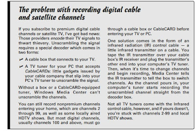 The problem with recording digital cable and satellite channels