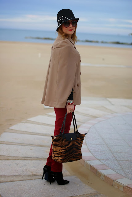 Camel cape coat, Persunmall cape, Longchamp Le Pliage, Fashion and Cookies, fashion blogger
