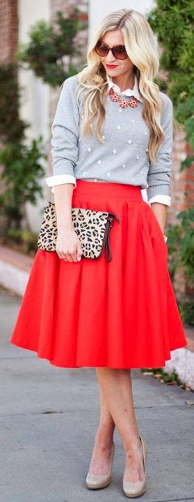 Women's fashion | Red skirt, Gray Dotted Sweater , pumps
