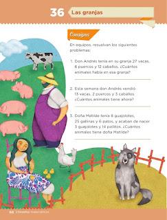Apoyo Primaria Desafíos matemáticos 1er grado Bimestre 3 lección 36 Las granjas