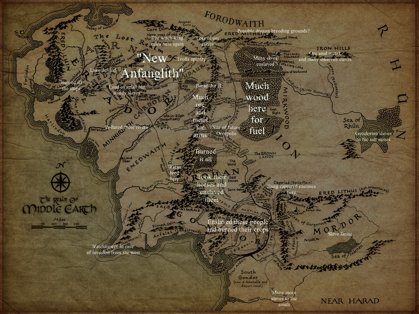 Notes from the Perilous Realm Saurons map of MiddleEarth