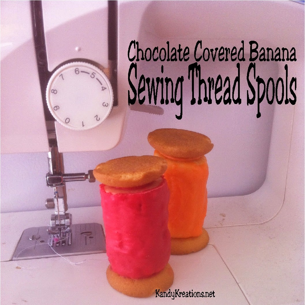 These chocolate covered banana Sewing thread spools are perfect for a crafting party, a sewing party, or a Pinterest project evening. They come together quickly and easily with only three ingredients and are sure to wow your guests' taste buds and DIY Spirit.