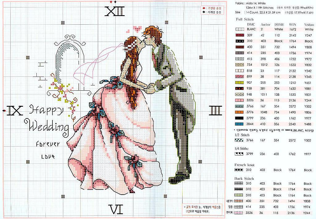 Вышивка крестиком схемы к дню свадьбы
