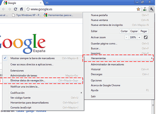 How to remove browsing history in Google Chrome