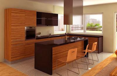 Moderna cocina con isla  color negro