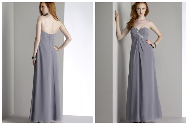 Floor-Length Grey A-Line Wedding Bridesmaid Dress