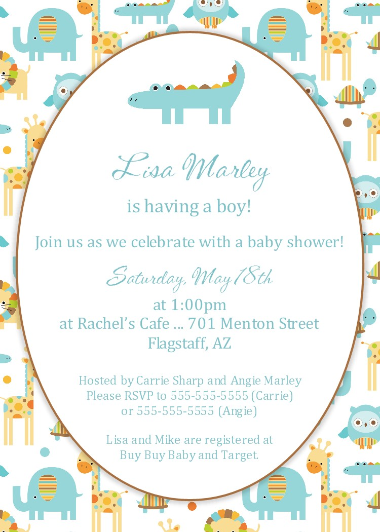 Bear River Photo Greetings Zoo Animal Baby Shower Invitation
