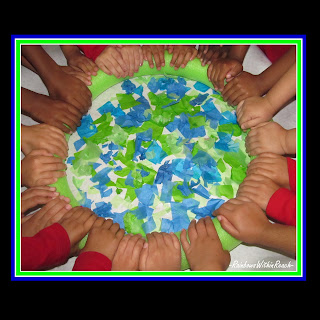photo of: Earth Day Art project, collaborative Art project, bulletin board, Preschool, Headstart, Spring art