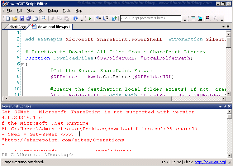 PowerGUI Error: Microsoft SharePoint is not supported with version 4.0.30319.1 of the Microsoft .Net Runtime