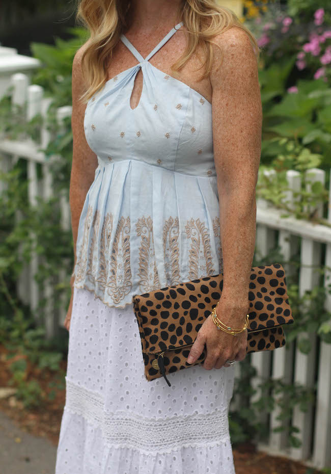 anthropologie top, white lace skirt, clare v clutch, julie vos bracelets