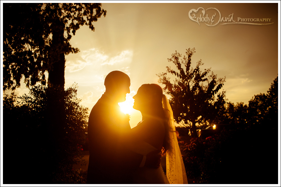 bride and groom shot against the setting sun.