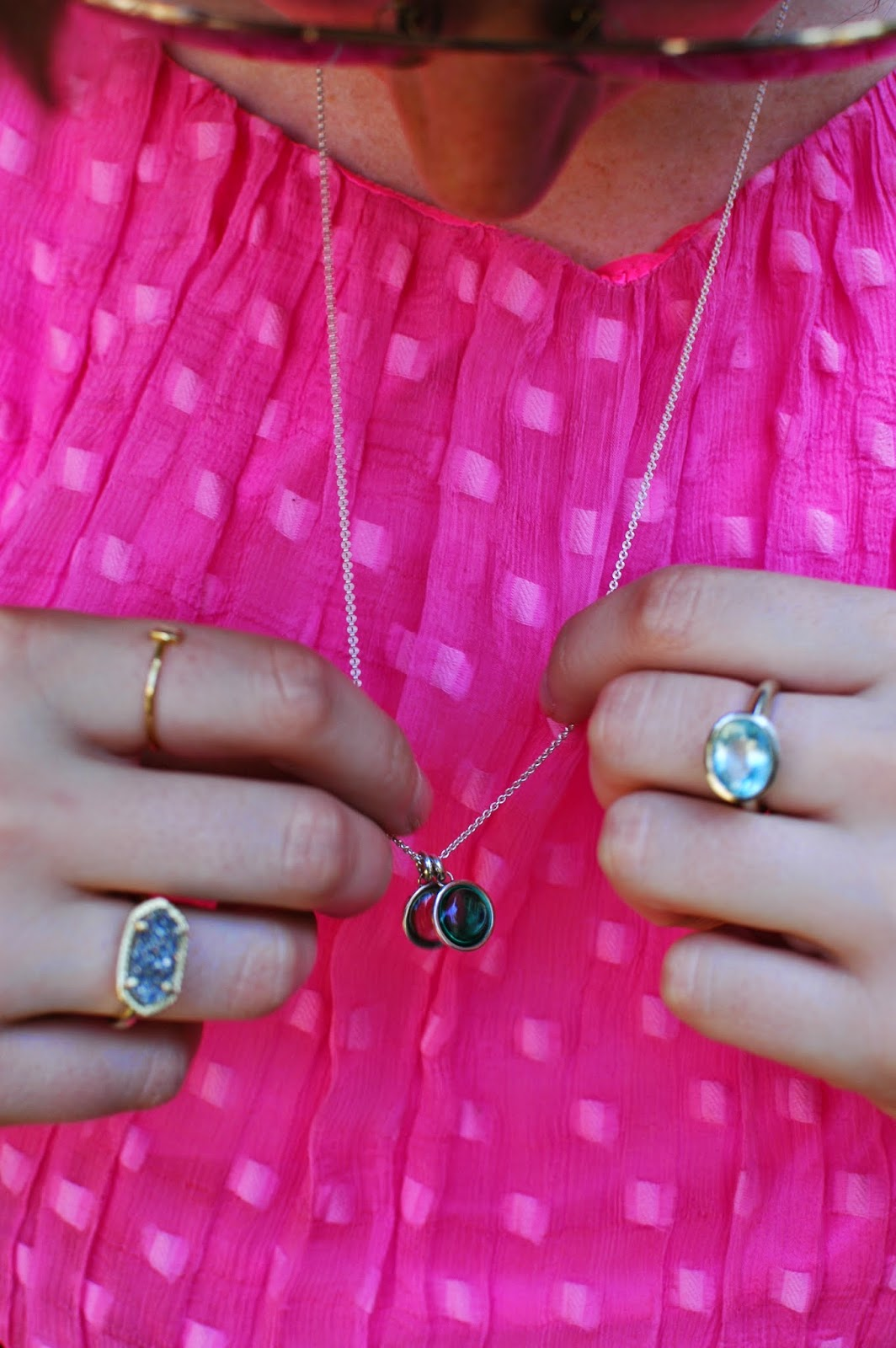 Pastille Necklace, Maria Beaulieu Ring, Kendra Scott Glam Rocks Ring
