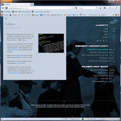 Screen shot of http://jonwhitestudio.com/#colophon.