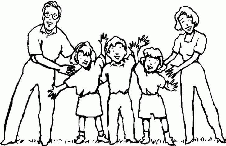 Familia en caricatura para colorear - Imagui
