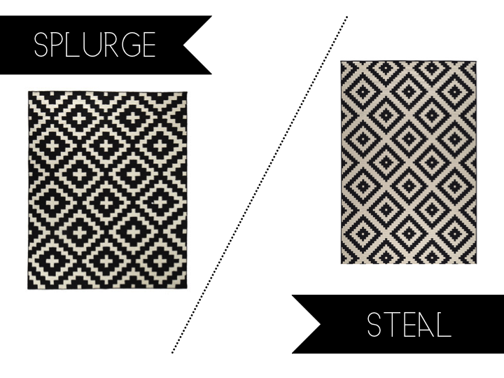 and stripes splurge vs steal sunday black white graphic rug