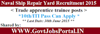 Naval Ship Repair Yard Recruitment 2015