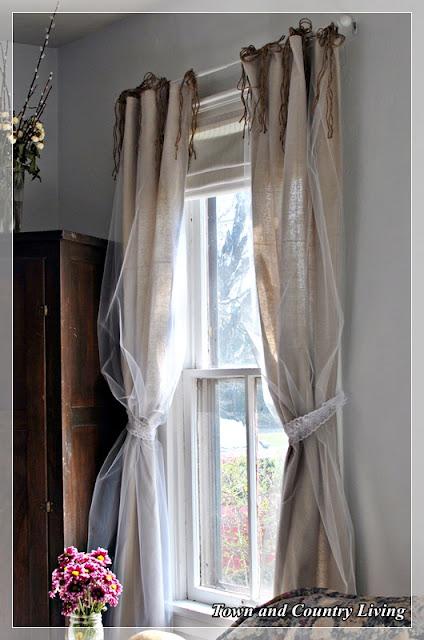 Almac n de inspiraciones cortinas tela de saco y tul - Cortinas de arpillera ...
