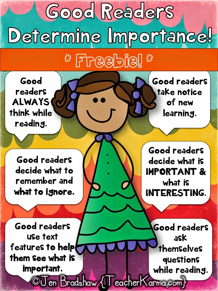 Determining importance lessons for improving comprehension ~ FREE!  TeacherKarma.com