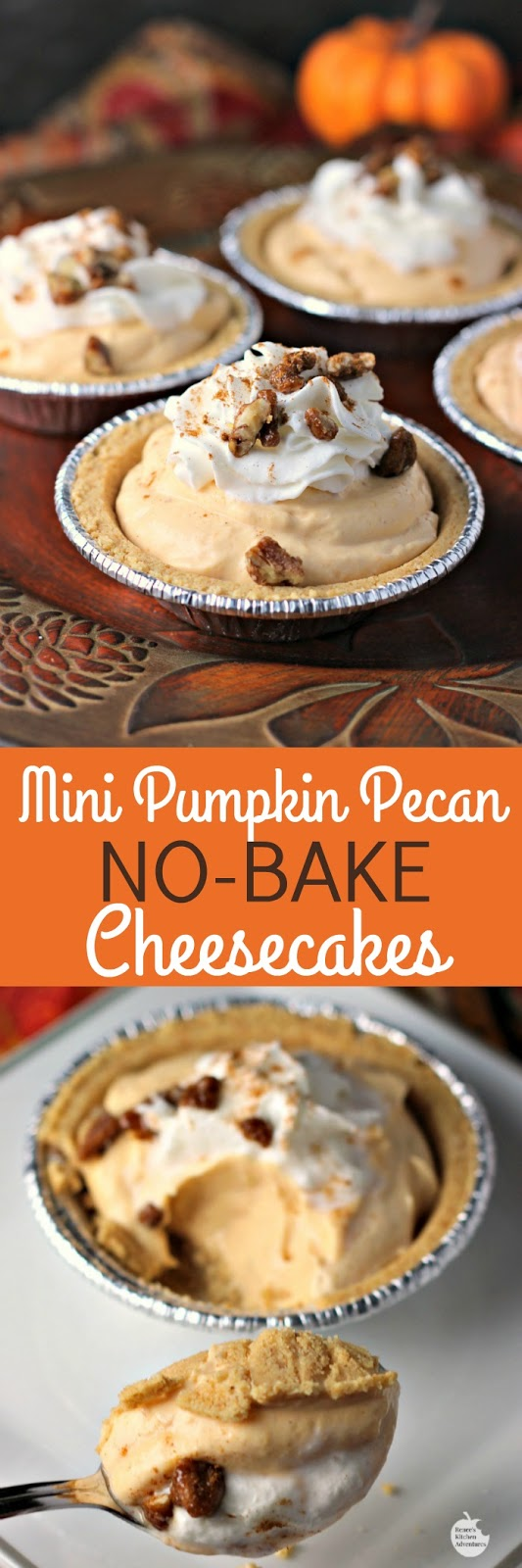 Mini Pumpkin Pecan No-Bake Cheesecakes | by Renee's Kitchen Adventures - easy dessert recipe for little pumpkin cheesecakes perfect for Thanksgiving or Christmas holidays #EffortlessPies ad