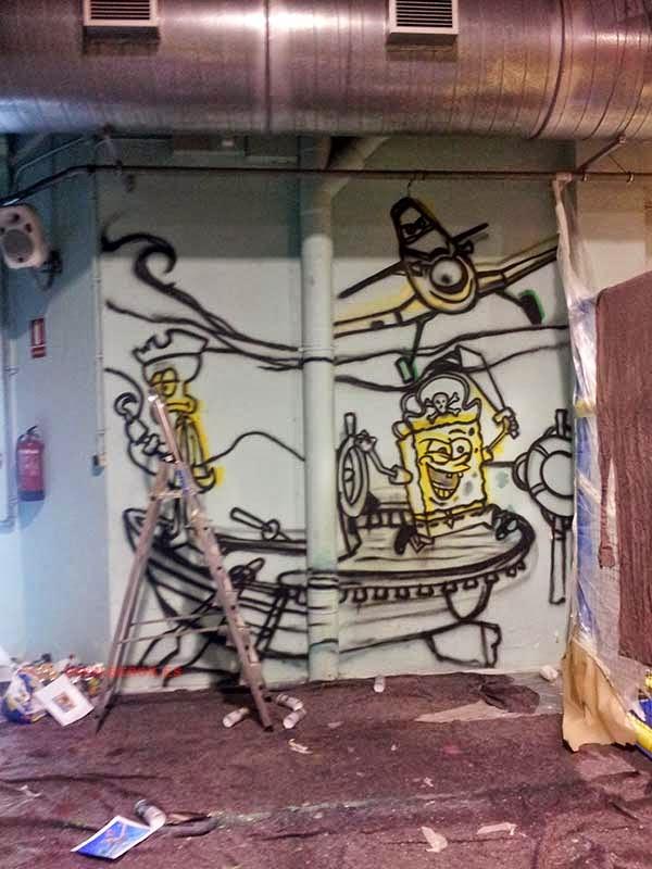 Marcaje con spray del mural