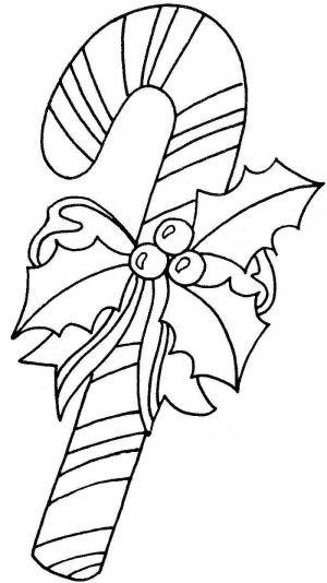 candy cane christmas coloring page for children