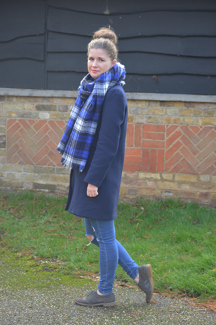 blue zara coat fashion bloggers