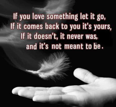 If you love something let it go, if it comes back to you it's yours, if it doesn't, it never was, and it's not meant to be.