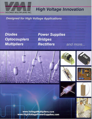 VMI's new catalog of high voltage diodes, bridges, power suppliers, optocouplers, and more.  Includes App Notes and technical data sheets.