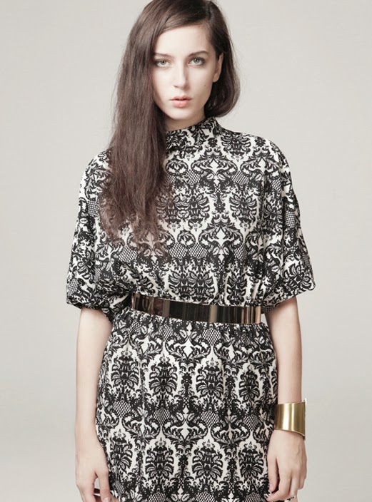 Black Three Quarter Sleeve Vintage Pattern Dress