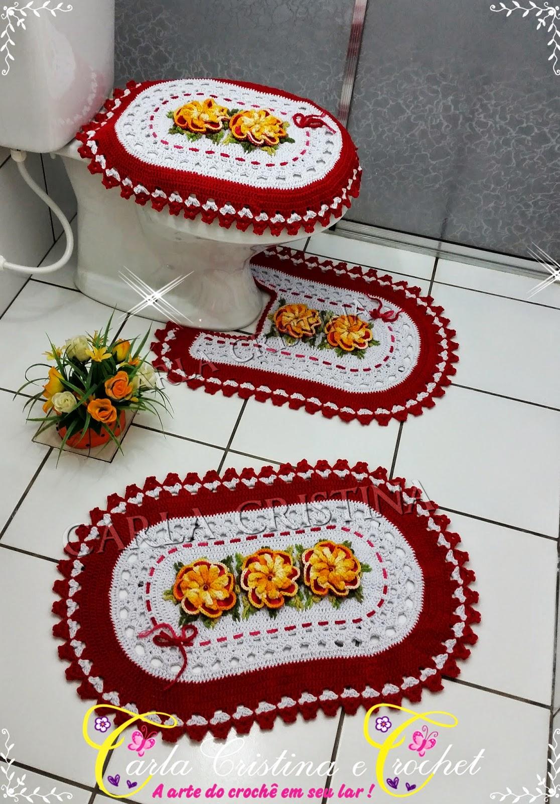Carla Cristina & Crochet: Jogo de Banheiro Oval Flor Malva #BAA711 1116x1600 Banheiro Cinza E Vermelho