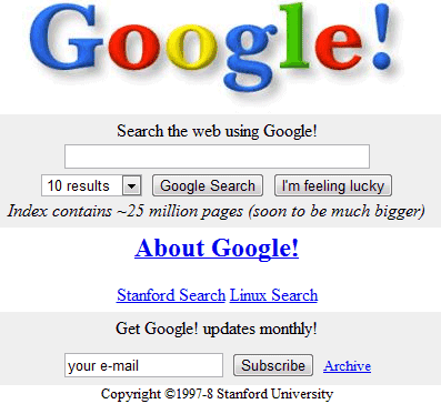 google 1998. Back in 1998, Google#39;s first