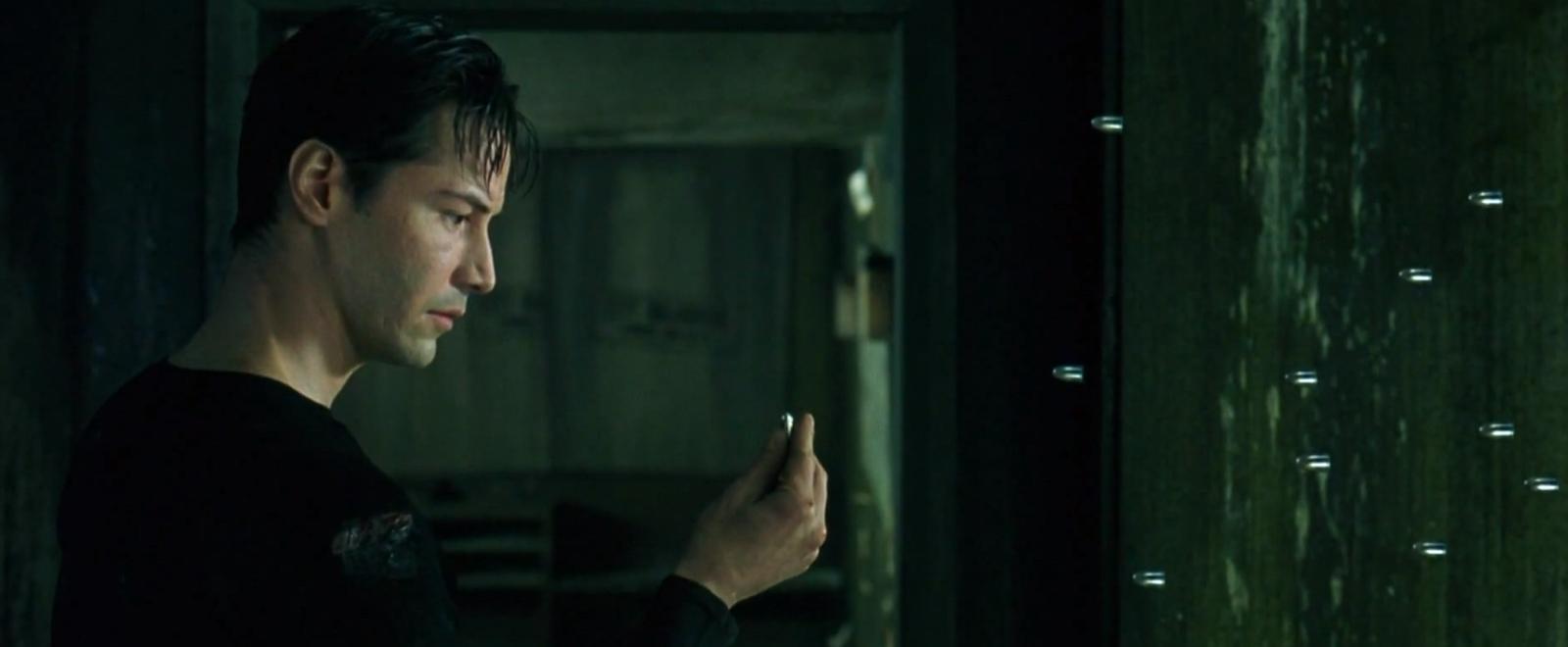 Neo The Matrix 1999 film bullet stop freeze