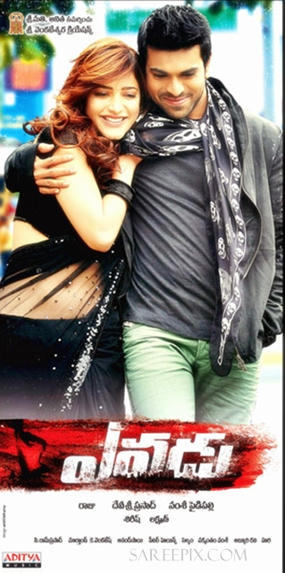 Shruti-hassan-saree-Yevadu-movie-poster