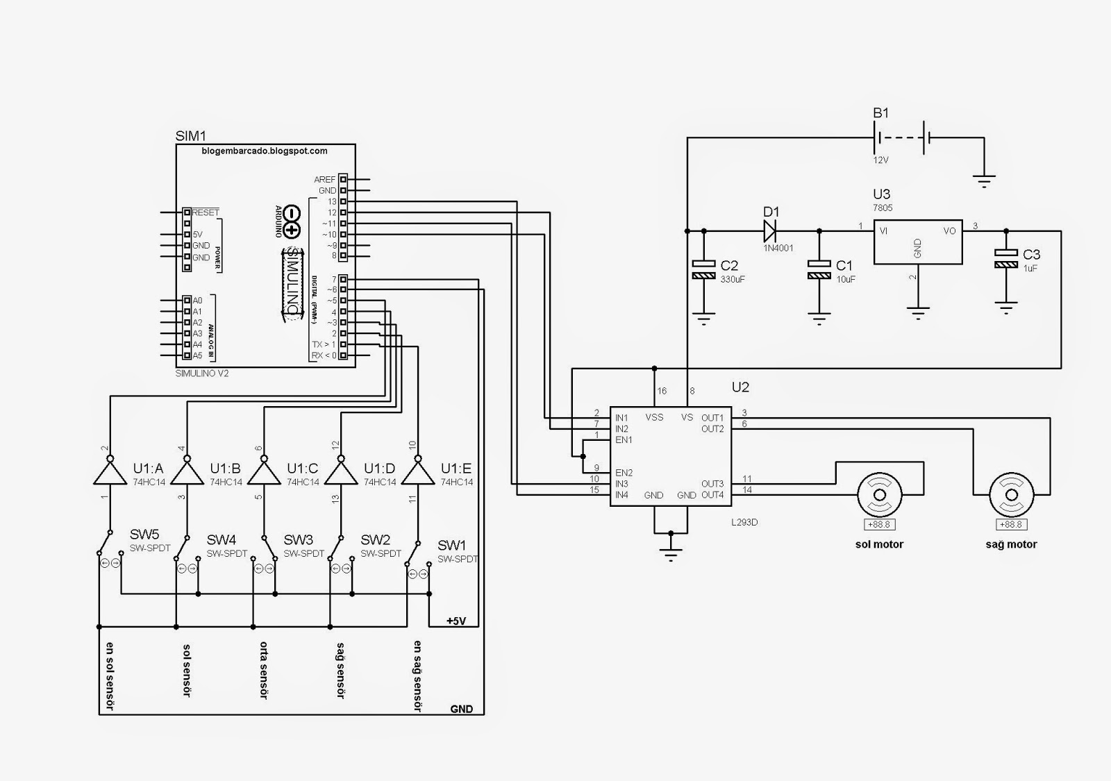 Arduino Çizgi İzleyen robot elektrik elektronik projeleri
