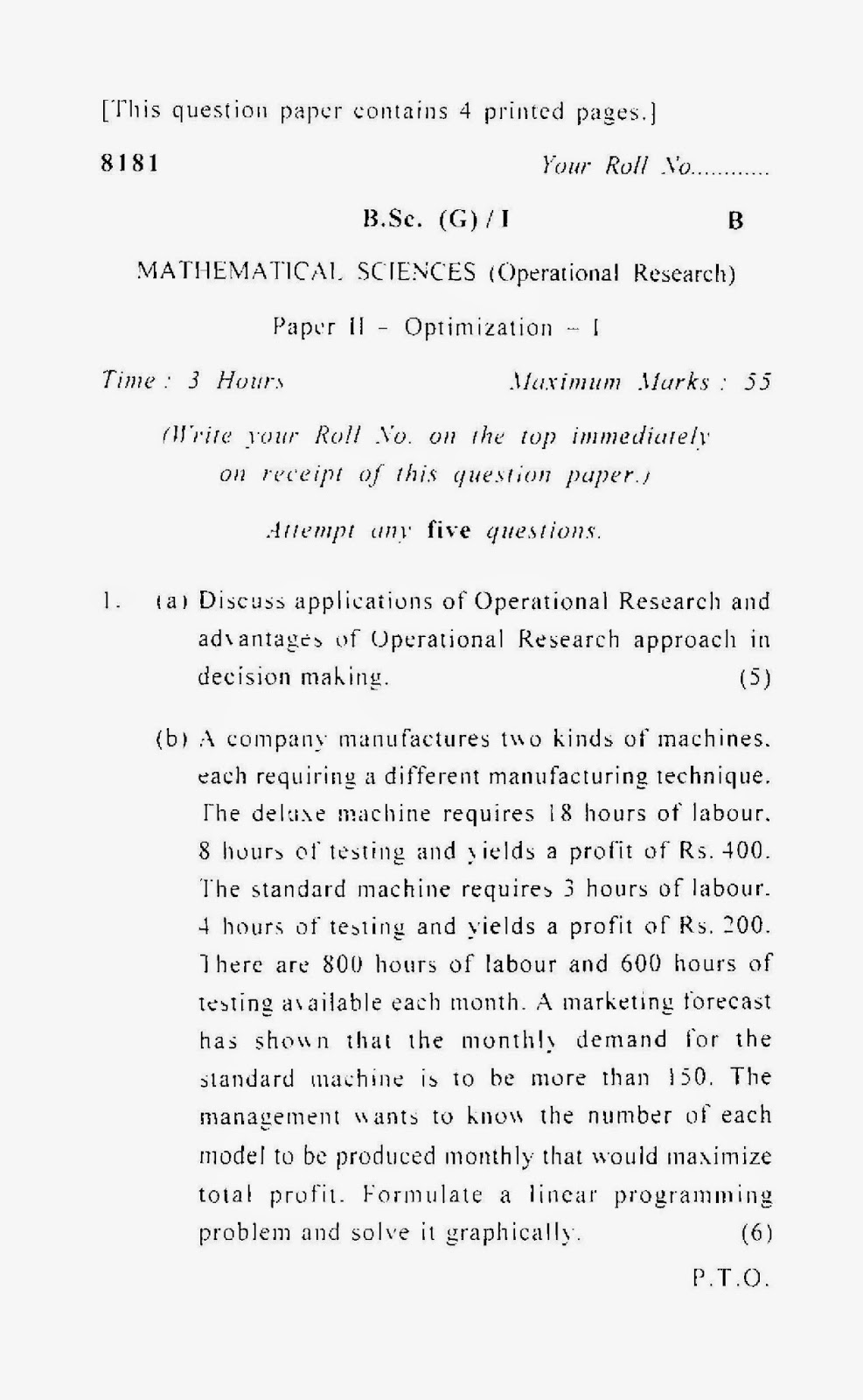 question paper applied operation research ptu Ptu dep syllabi-book mapping table bca - 504 operations research section i origin & development of or, nature & characteristics features of or, models & modeling in operation research.