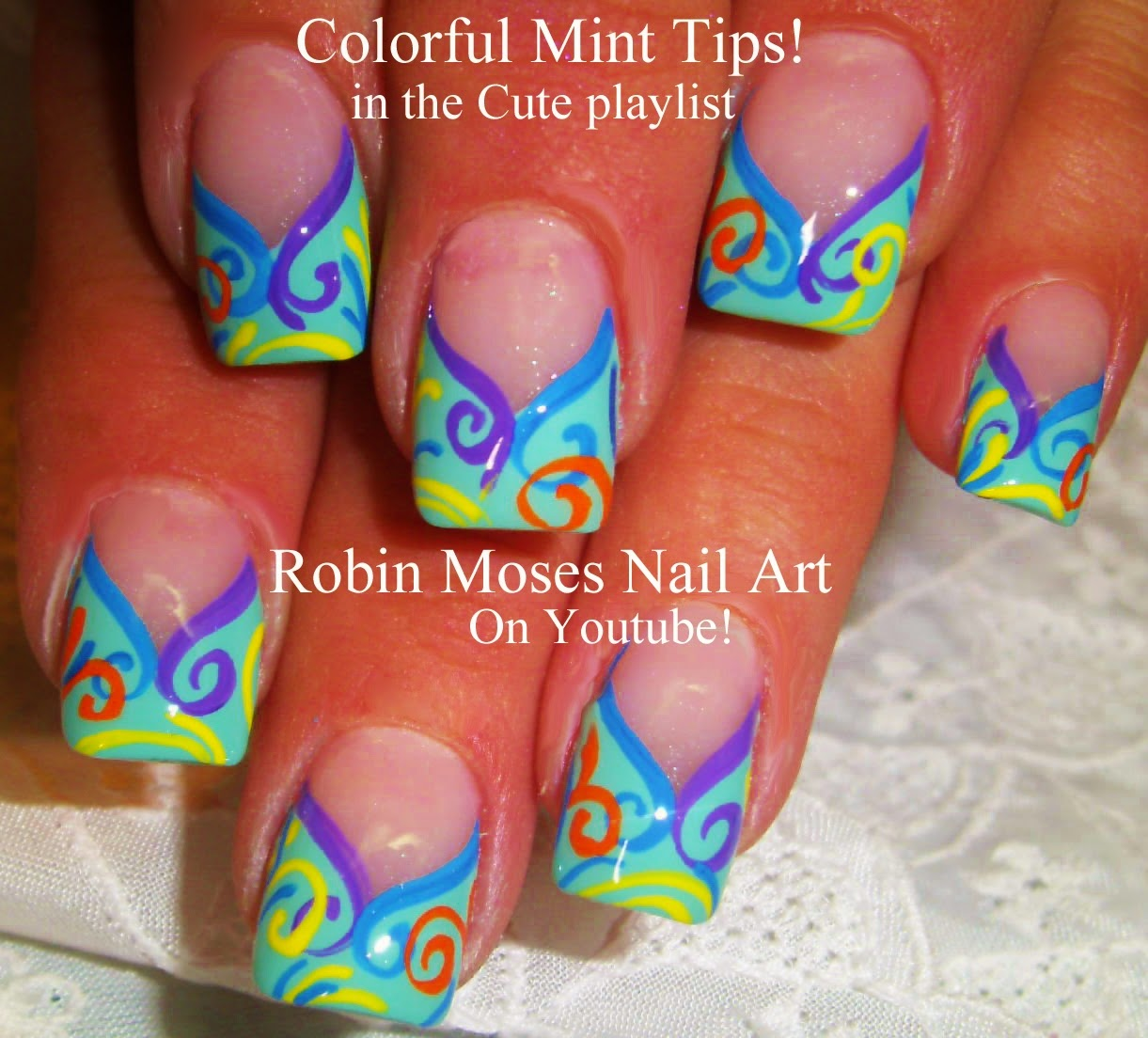 Kbshimmer Spring 2014 Chevron Dot Nail Art Easter Design: Mint Tip Nails Designs With A Twist