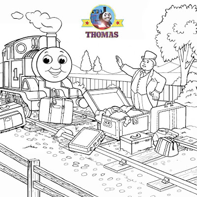 Fun cartoon pictures of Thomas the tank engine and friends train coloring book pages for older kids