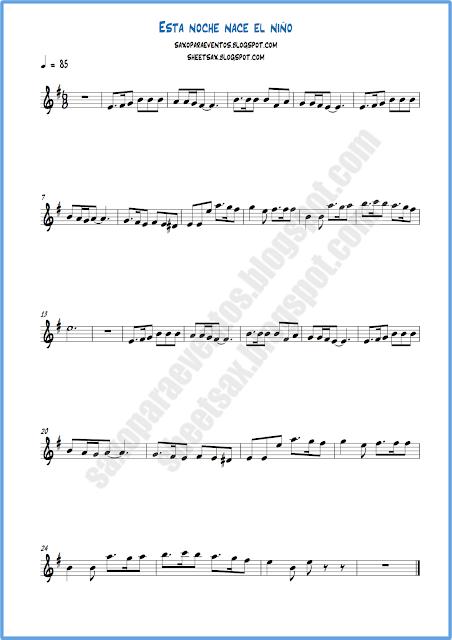 Partitura para flauta o violín de esta noche nace un niño