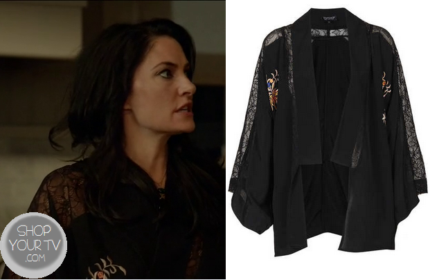 Witches of East End: Season 1 Episode 2 Wendy's Black Lace Floral Embroidered Kimono