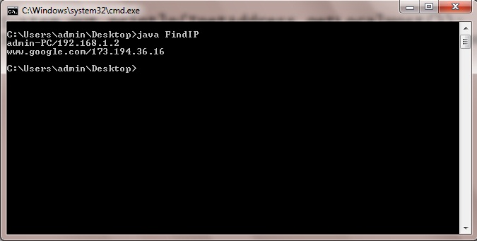 Java Program to Find IP Address